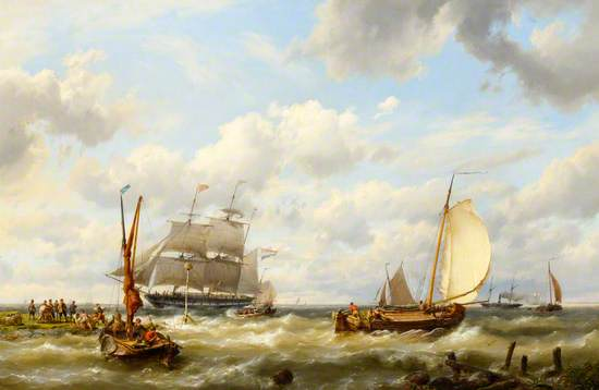 Sailing Ships and a Paddle Steamer Offshore