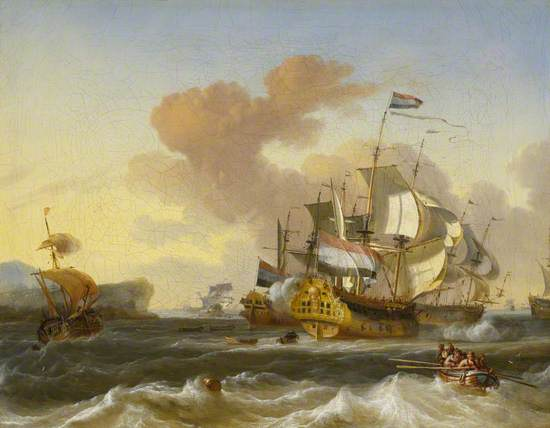 A Dutch Flagship and Other Vessels off a Rocky Coast