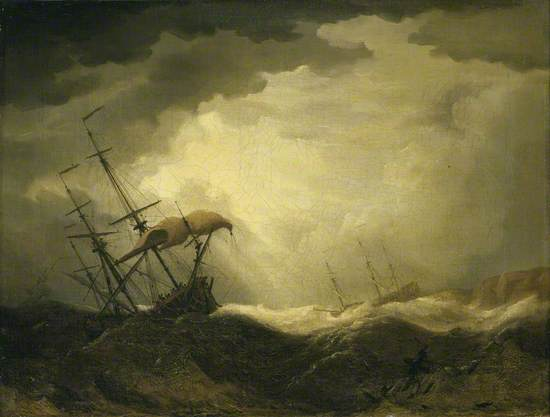 Ships Driving onto a Rocky Shore in a Heavy Sea
