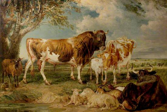 Bull, Cow and Calf in a Landscape