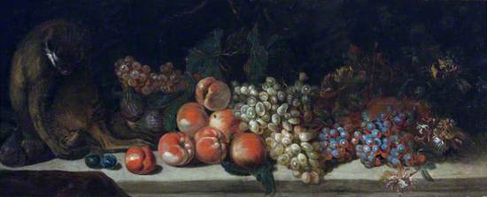 A Monkey on a Table with Some Fruit