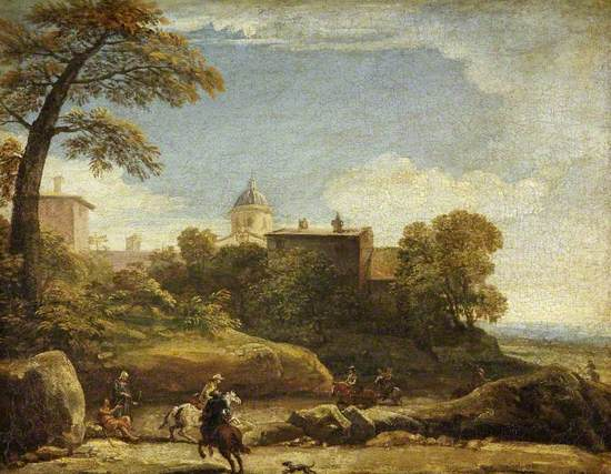 A View of Ariccia (?) with Horsemen