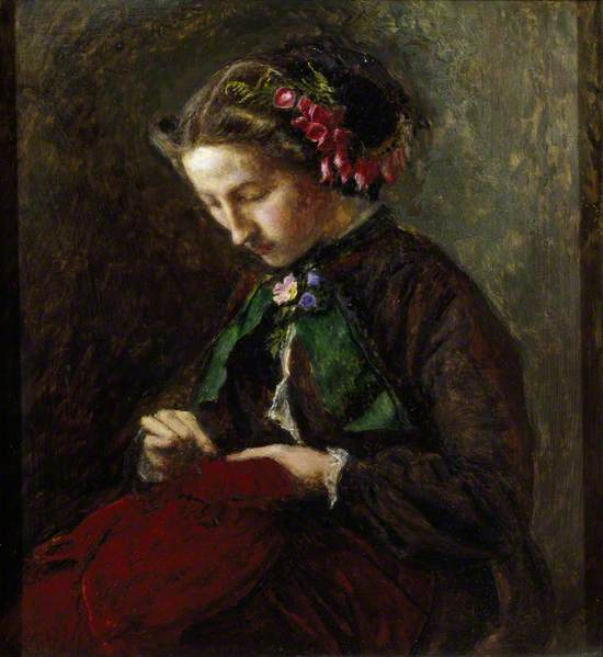Effie with Foxgloves in Her Hair (The Foxgloves) (Euphemia 'Effie' Chalmers Gray, 1828–1898, Mrs John Ruskin)