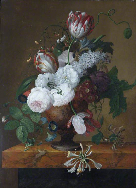 Tulips, Honeysuckle, Peonies and Roses in an Urn