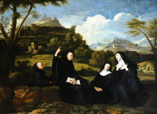 Saint Benedict and Saint Scholastica and Two Companions in a Landscape