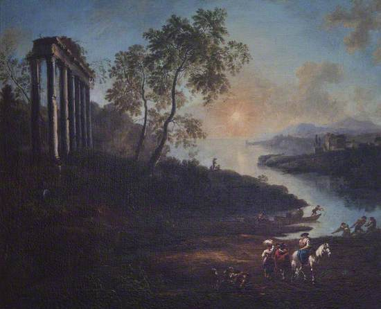 An Evening Landscape with an Estuary and a Ruined Temple
