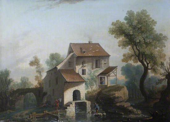 A Watermill and Millpond with Figures