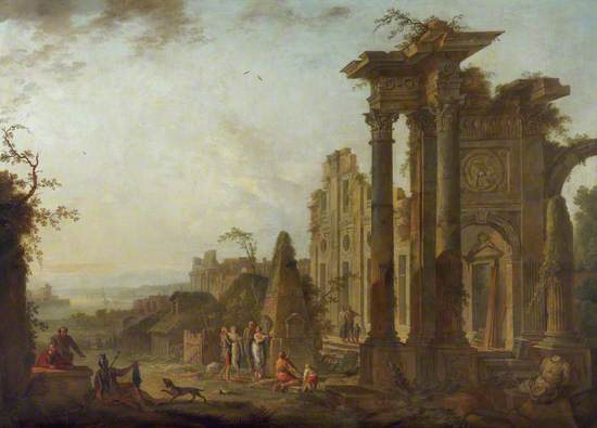 Antique Ruins with Figures and a Pyramid