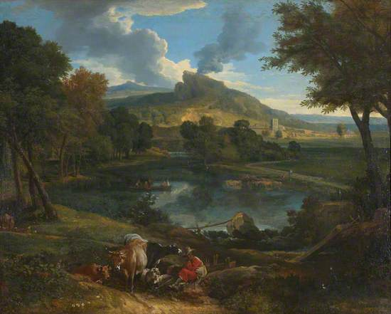 River Landscape with Cattle and Sheep