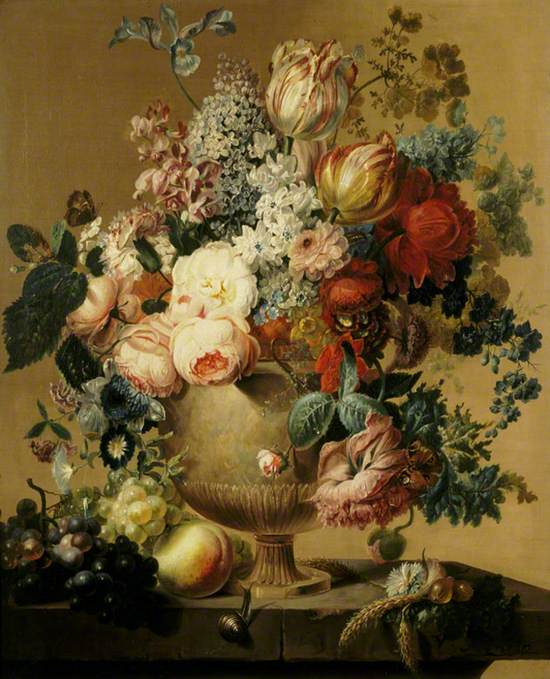 A Stone Urn with Flowers and Fruit