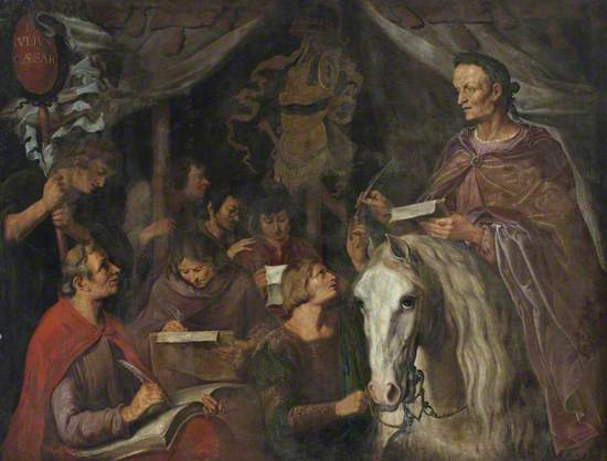 Julius Caesar on Horseback, Writing and Dictating Simultaneously to His Scribes