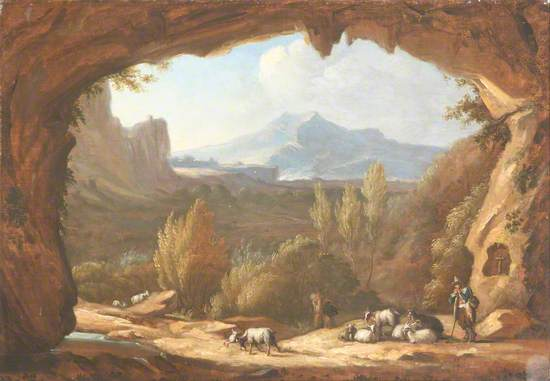 Landscape with Cattle Seen through a Rocky Archway