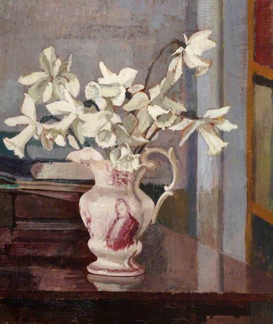 White Daffodils in a Ceramic Jug