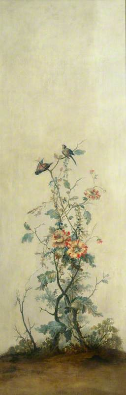 Wall Panel with Rose Bush and Two Birds
