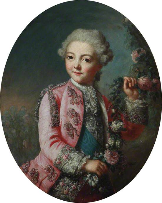 Portrait of a Boy Holding a Garland of Flowers