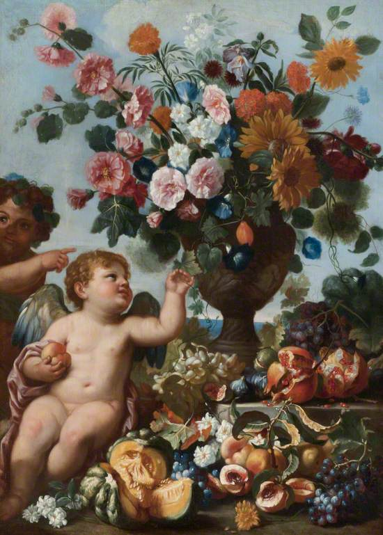 Putti with Fruit and an Urn of Flowers