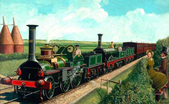 South Eastern Railway Train in Kent Countryside Hauled by 4–2–0 Locomotives Nos.85 and 136