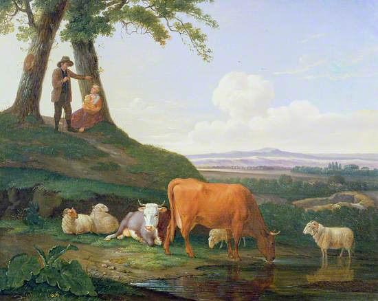 Cow, Sheep, Shepherd
