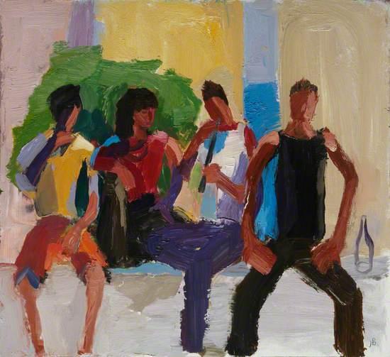 Four Youths on a Wall, Santa Maria del Mar