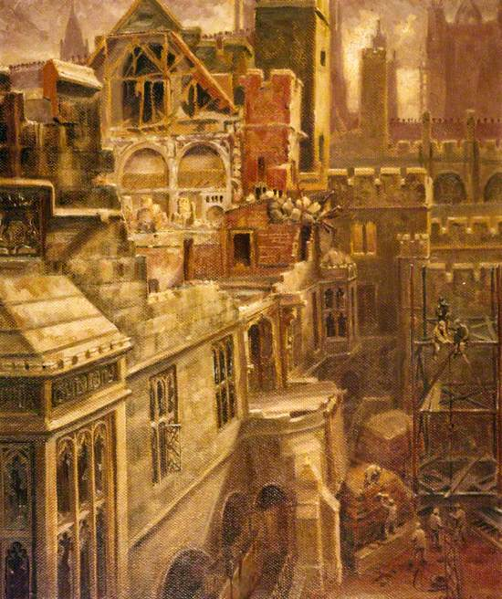 Houses of Parliament Debating Chamber Showing Bomb Damage, View Looking South East from Star Court
