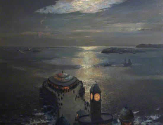 Plymouth Sound by Moonlight and Searchlight