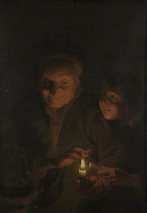 Woman and Child with Candle