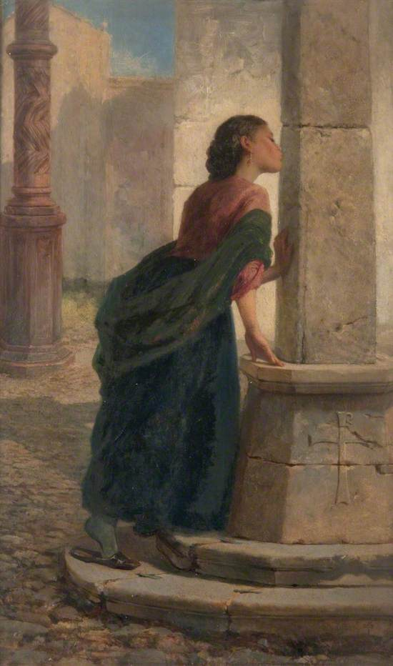 A Young Girl Kissing a Pillar