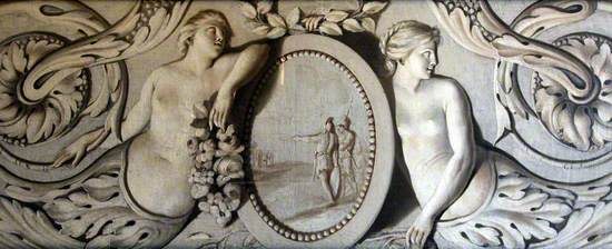 Decorative Panel with Two Central Figures