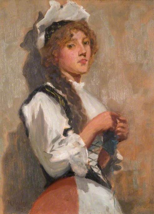A Girl in Costume Knitting