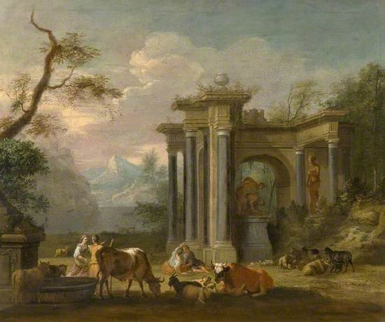 Ruins with Figures and Cattle