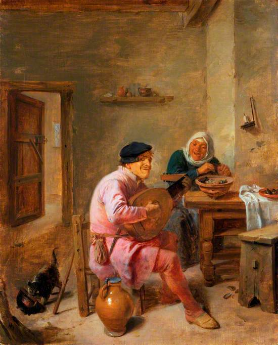 Interior of a Room with Figures: A Man Playing the Lute, and a Woman