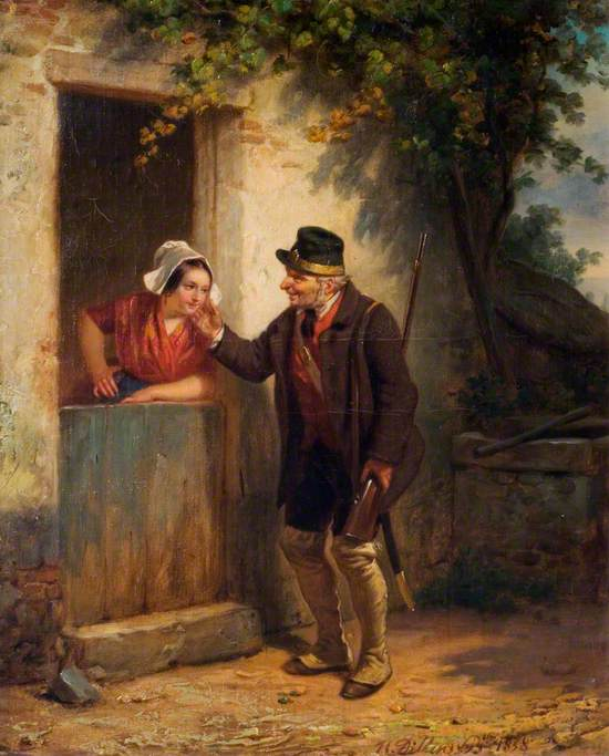 A Gamekeeper and a Woman at a Cottage Door