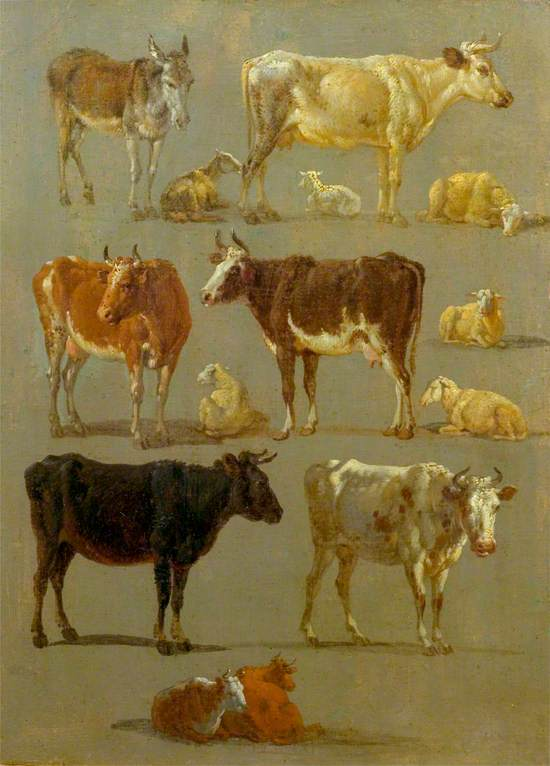Studies of Animals: Cows and Oxen, Sheep and a Donkey