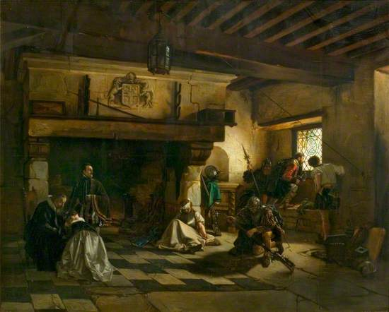 Interior with Armed Men and a Family Group