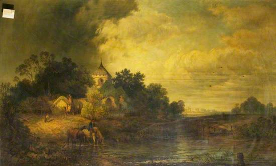 Romantic Landscape with Horses Drinking