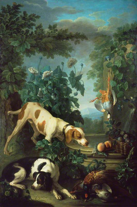 Two Dogs and Dead Game by a Fountain
