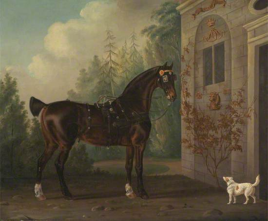 Lord Abergavenny's Dark Bay Carriage Horse with a Terrier