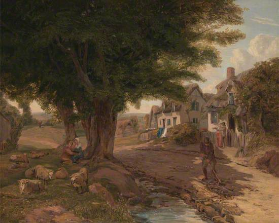 Village Scene (Possibly Colickey Green, Essex)