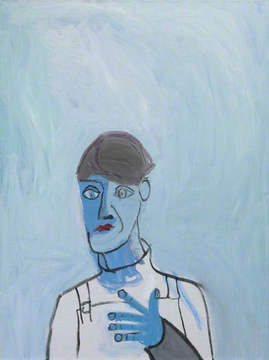 Untitled (White Dungarees on Blue Background)