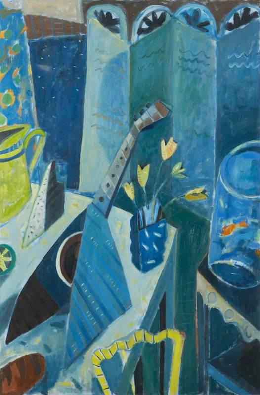 Blue Still Life with a Mandolin