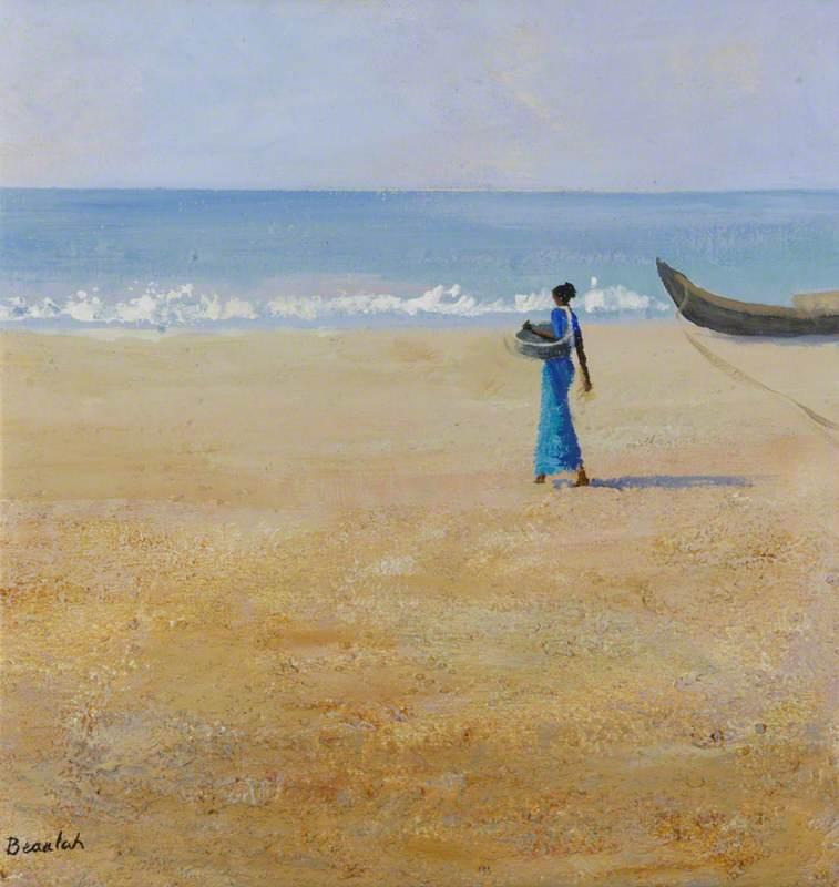 Fisherwoman in Blue (Scenes from Kerala, South India)