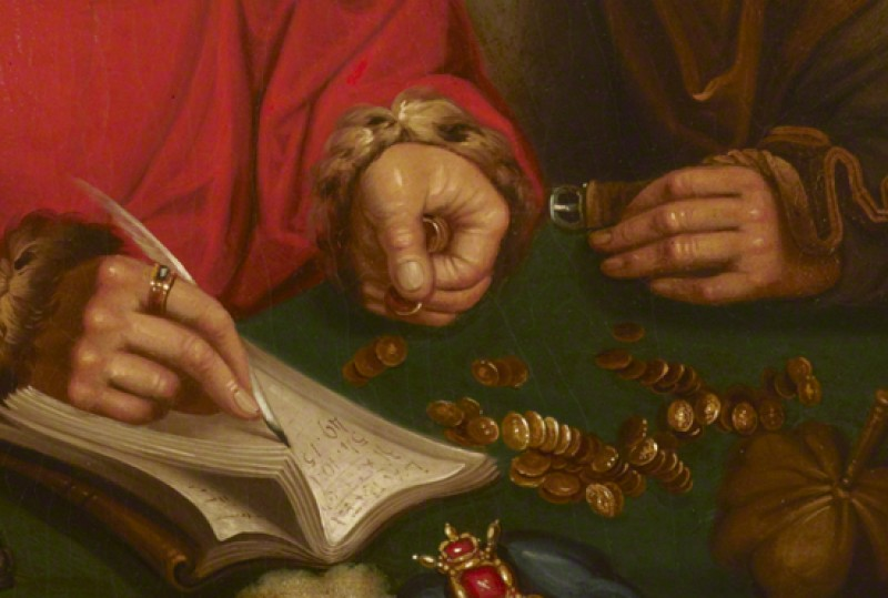 (copy after Marinus van Reymerswaele) (detail), oil on panel, possibly by British (English) School