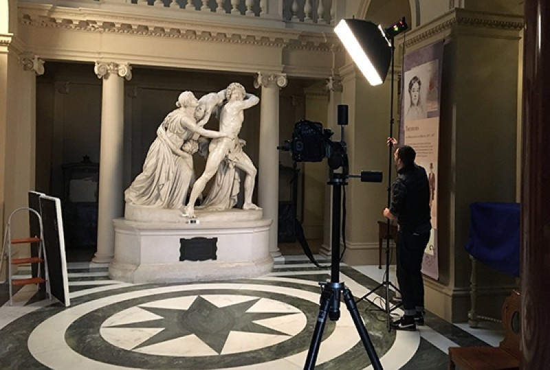 John Flaxman's 'Fury of Athamas' being photographed