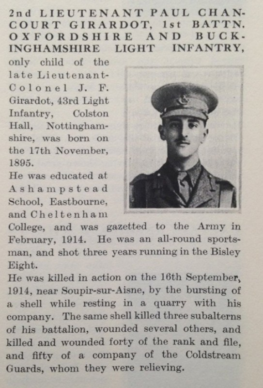 Obituary of Second Lieutenant Paul Chancourt Girardot (1895–1914), 1st Bn OBLI