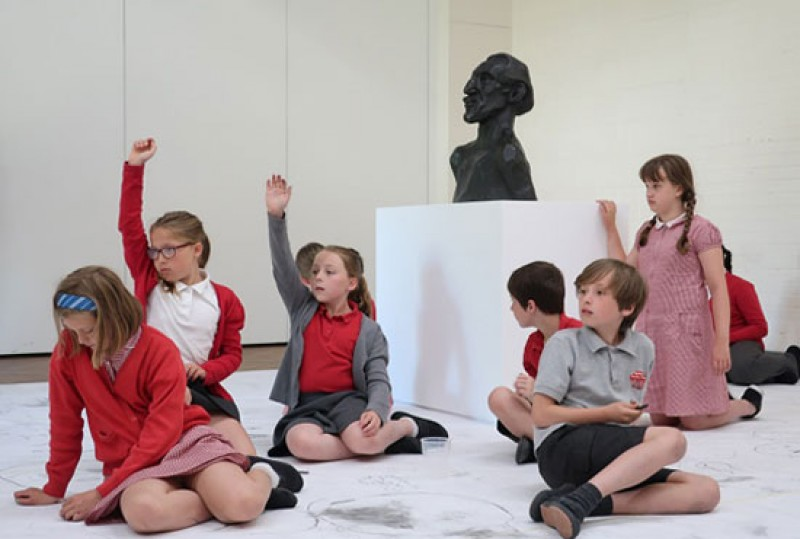 Pupils from Weetwood Primary School, Leeds, take part in large-scale drawing workshops inspired by a bronze portrait bust of the artist Horace Brodzky (1913) by Henri Gaudier-Brzeska.