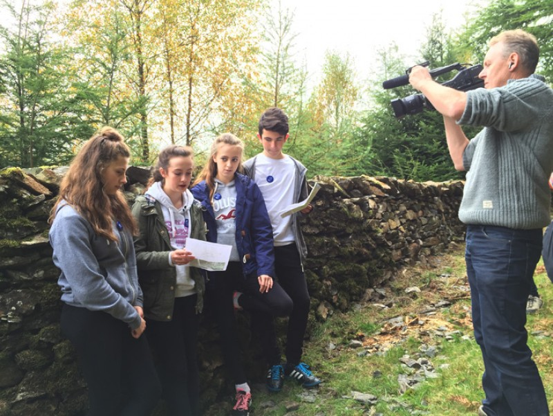 Making a film about Andy Goldsworthy's sculpture 'Taking a wall for a walk' in Grizedale Forest
