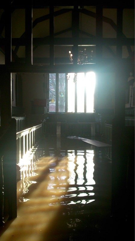 The Chapel which took the brunt of the damage from the flood still under 30cm of water on 29th Dec