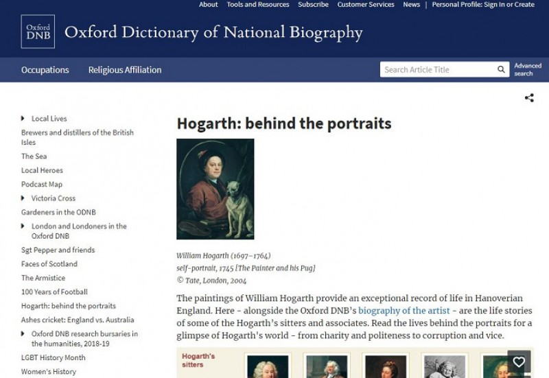 Oxford Dictionary of National Biography feature on Hogarth's sitters