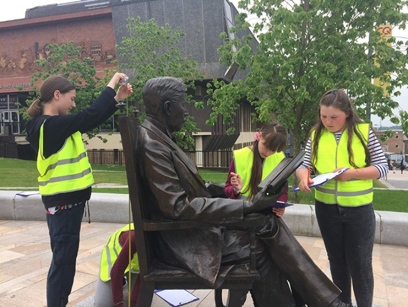 Recording the statue of Arnold Bennett (1867–1931) outside The Potteries Museum & Art Gallery, Stoke-on-Trent