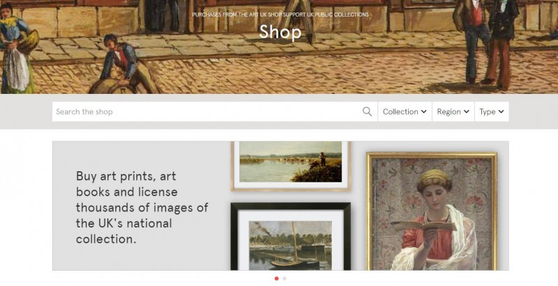 The Art UK Shop homepage